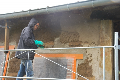 pisé, chantier participatif, façade