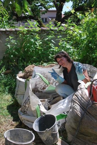 pisé, chantier participatif, soubassement