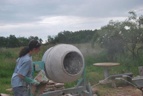 chantier participatif, pisé, chaux