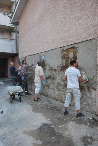 pisé, mortier, chaux sable, chantier participatif, Formaterre, accompagnement, ,